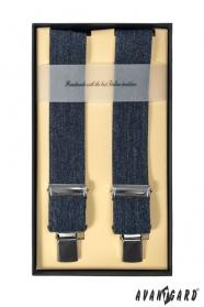 Pánské šle (kšandy) čtyřbodové - Modrá jeans