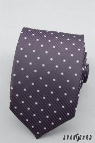 Puntíkovaná fialová kravata lila puntíky