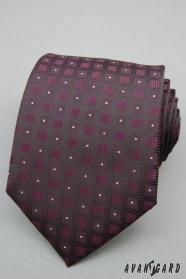 Fialová kravata čtverečkovaný vzor