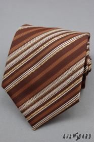 Hnědá kravata zlatý proužek