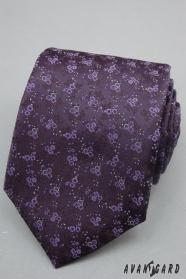 Tmavěfialová kravata jemné květy