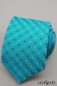Tyrkysová kravata s drobnými kostkami