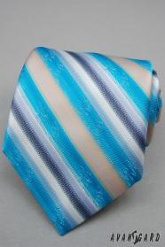 Tyrkysová kravata s širokými pruhy