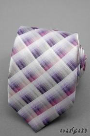 Kostkovaná kravata růžová, fialová