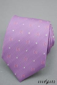 Lila kravata s proužky a stříbrnými čtverečky