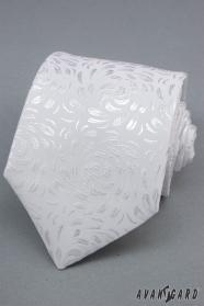Bílá kravata se vzorem lesklé lístky