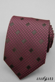 Kostkovaná bordó kravata