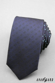 Úzká kravata SLIM tmavěmodrá s puntíky