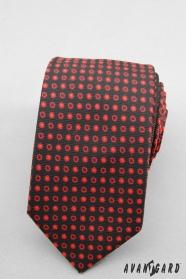 Úzká kravata SLIM černá červené puntíky