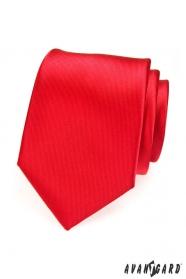 Pánská kravata červená s jemnými proužky