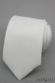 Bílá kravata se stříbrnými body