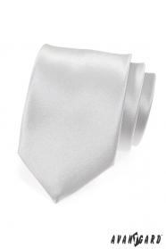 Bílá lesklá kravata hladká