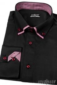 Pánská košile SLIM s dlouhým rukávem Černá