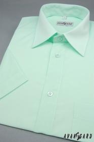 Pánská košile s krátkým rukávem zelenkavá