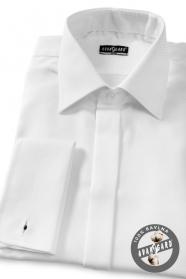 Pánská košile SLIM krytá léga, manžetové knoflíčky bílá