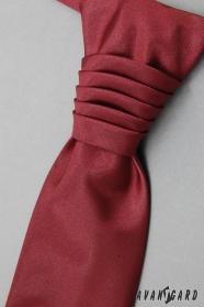 Hladká svatební kravata s kapesníčkem bordó