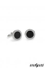 Kulaté manžetové knoflíčky s kamínky černé