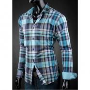Pánská košile Victorio tyrkysová kostka