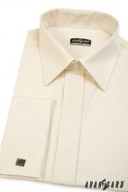 Pánská košile SLIM smetanová s úzkým proužkem, prodloužená velikost