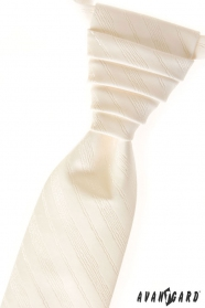 Smetanová svatební kravata s jemnými proužky