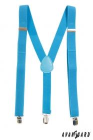 Tyrkysové šle Y s modrou kůží a zapínání na kovové klipy