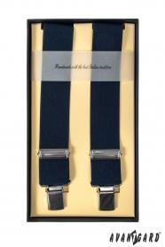 Luxusní tmavě modré pánské šle čtyřbodové