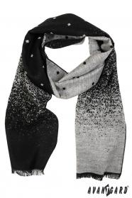 Pánská elegantní šála černo šedý vzor
