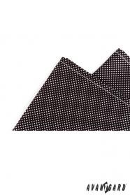 Pánský bavlněný kapesníček černá s bílým puntíkem