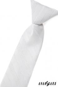 Bílá dětská kravata se stříbrným vzorem