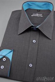 Grafitová pánská košile s tyrkysovými doplňky