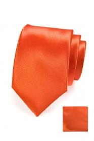 Oranžová kravata v setu s kapesníčkem