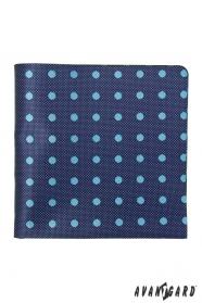 Modrý strukturovaný kapesníček se světlou tečkou
