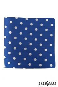 Modrý kapesníček s velkými stříbrnými puntíky