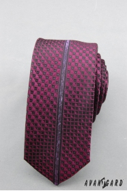 Pánská slim kravata s fialovým vzorem