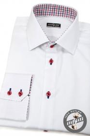 Bílá pánská košile slim s červenými knoflíky