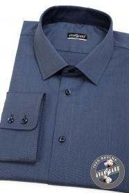 Modrá košile SLIM dlouhý rukáv, modré knoflíky