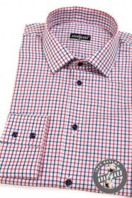 Pánská košile SLIM červená modrá kostkovaná