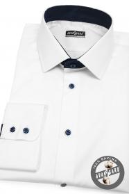 Bílá pánská košile SLIM s modrými doplňky