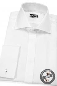 Pánská košile SLIM krytá léga, bílá 100% bavlna