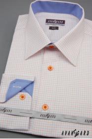 Bílá pánská košile slim s modrými a oranžovými doplňky