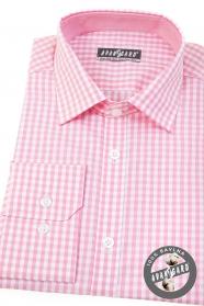 Pánská košile slim s růžovou kostkou dlouhý rukáv