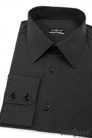 Košile SLIM černá s jemným proužkem