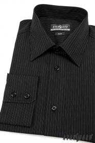 Proštíhlená pánská košile SLIM černá s proužky