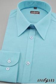 Pánská košile SLIM tyrkysová jemná struktura