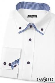 Pánská košile SLIM bílá s elegantní kostkou