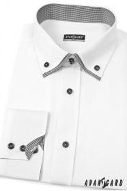Bílá pánská košile SLIM s dlouhým rukávem a černými doplňky