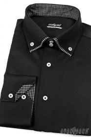Pánská košile SLIM černá zevnitř kostkovaná