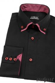 Pánská košile SLIM dlouhý rukáv Černá
