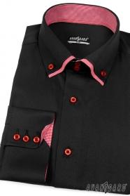 Pánská košile SLIM černá s červenou uvnitř