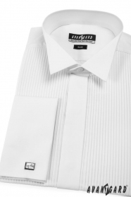 Pánská fraková košile SLIM MK bílá plisovaná